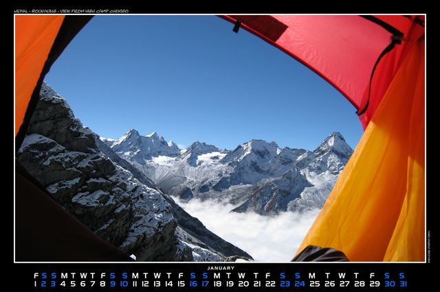 Nepal, Rolwaling, View from High Camp Chekigo