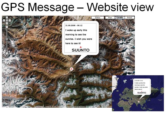 GPS message on website